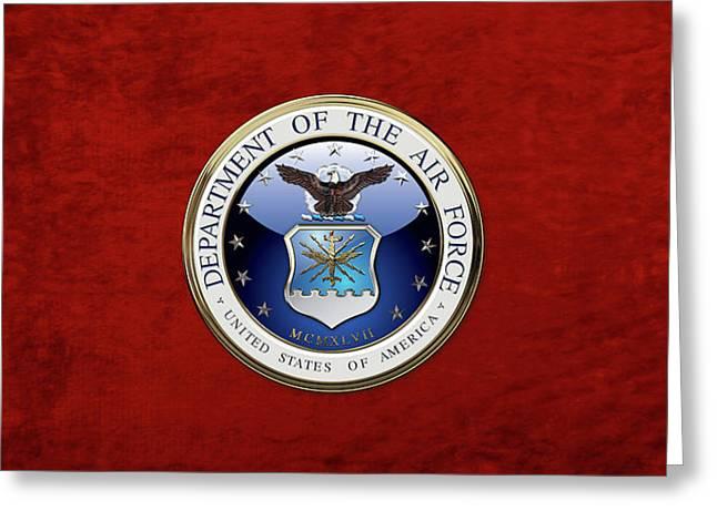 U. S.  Air Force  -  U S A F Emblem Over Red Velvet Greeting Card by Serge Averbukh