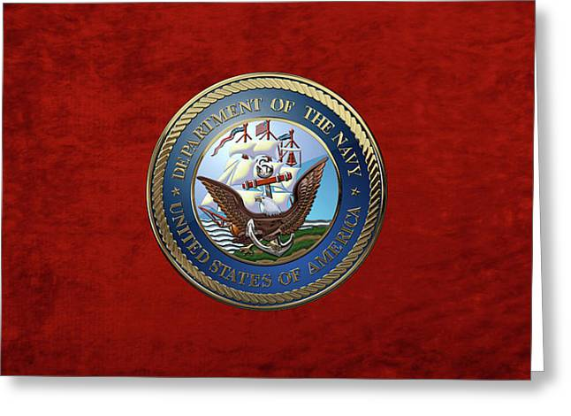 U. S.  Navy  -  U S N Emblem Over Red Velvet Greeting Card