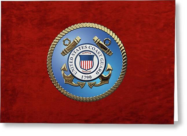 U. S. Coast Guard - U S C G Emblem Greeting Card by Serge Averbukh