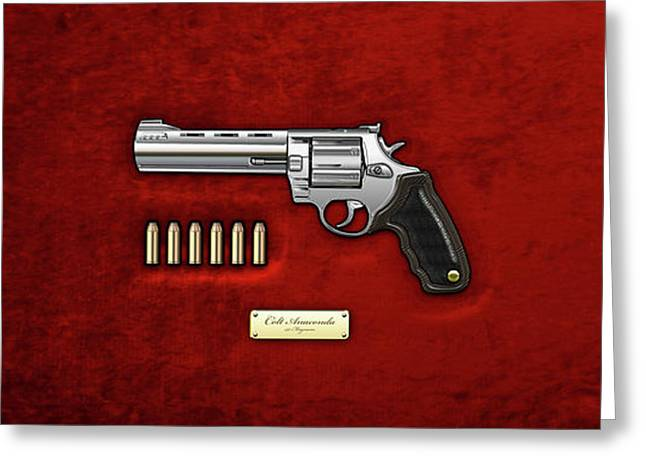 .44 Magnum Colt Anaconda With Ammo On Red Velvet  Greeting Card by Serge Averbukh