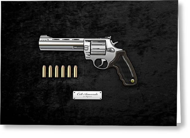 .44 Magnum Colt Anaconda With Ammo On Black Velvet  Greeting Card