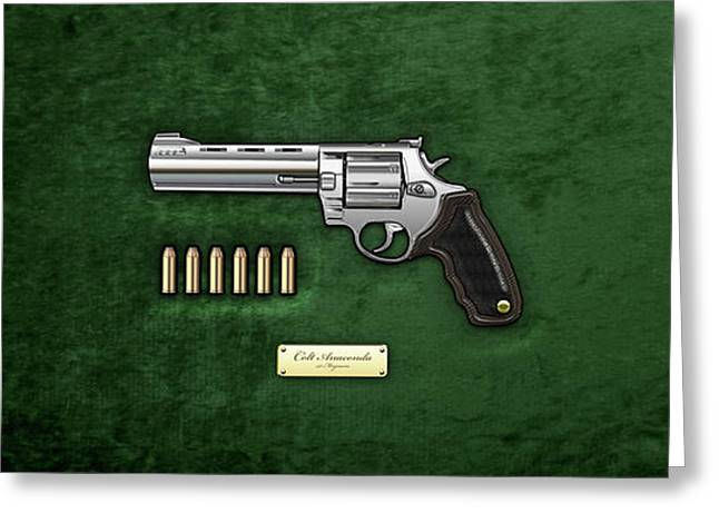 .44 Magnum Colt Anaconda With Ammo On Green Velvet  Greeting Card by Serge Averbukh