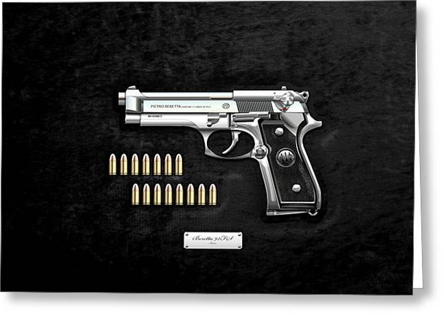 Beretta 92fs Inox With Ammo On Black Velvet  Greeting Card