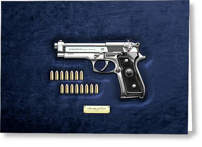Beretta 92fs Inox With Ammo On Blue Velvet  Greeting Card