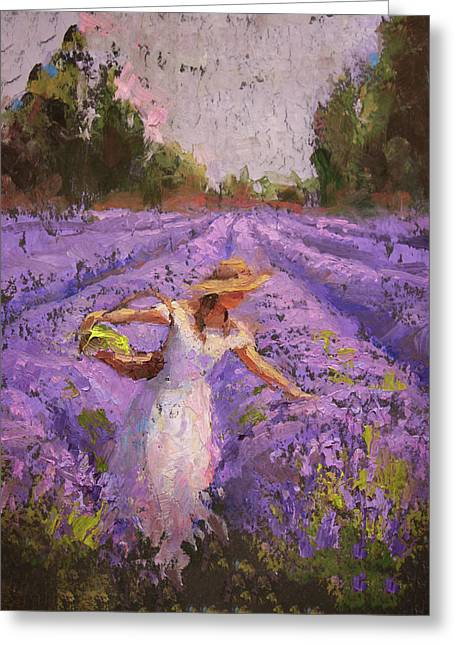 Woman Picking Lavender In A Field In A White Dress - Lady Lavender - Plein Air Painting Greeting Card