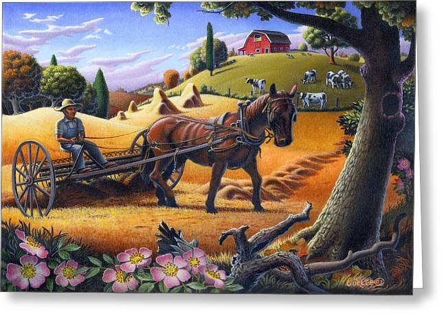 Raking Hay Field Rustic Country Farm Folk Art Landscape Greeting Card by Walt Curlee
