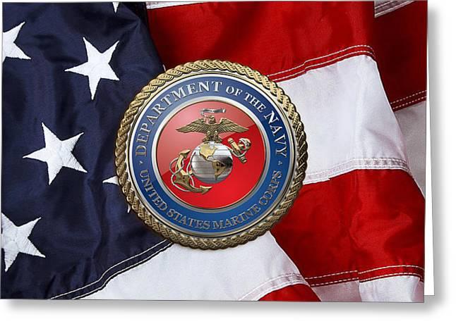 U. S. Marine Corps - U S M C Seal Over American Flag. Greeting Card by Serge Averbukh