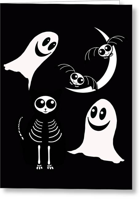 Halloween Bats Ghosts And Cat Greeting Card