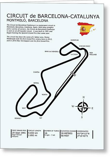 Circuit De Barcelona Catalunya Greeting Card by Mark Rogan
