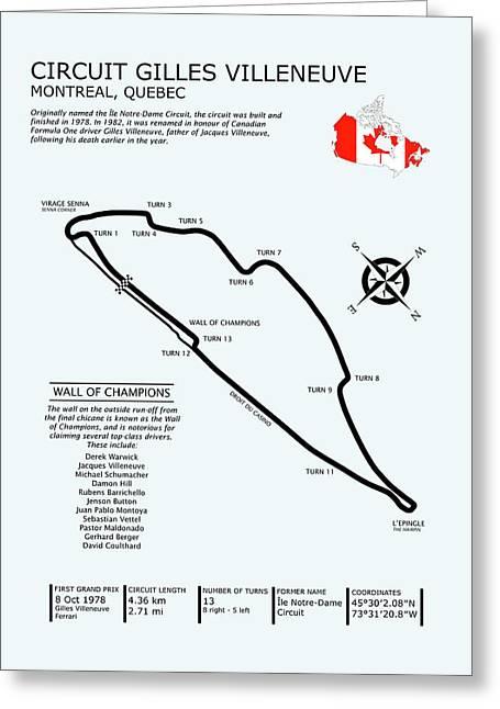 Circuit Gilles Villeneuve Greeting Card by Mark Rogan