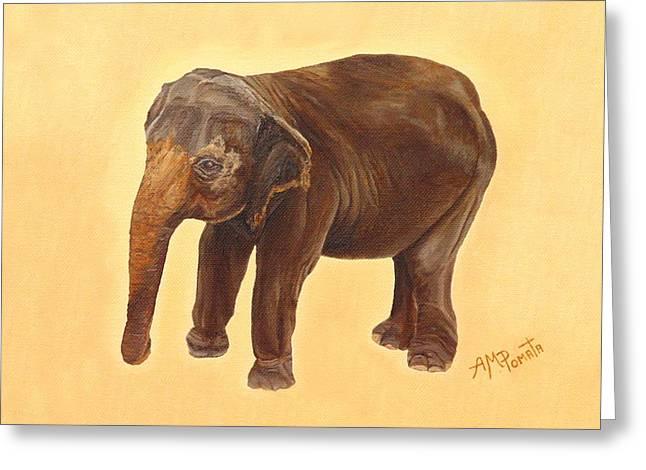 Elephant Greeting Card by Angeles M Pomata