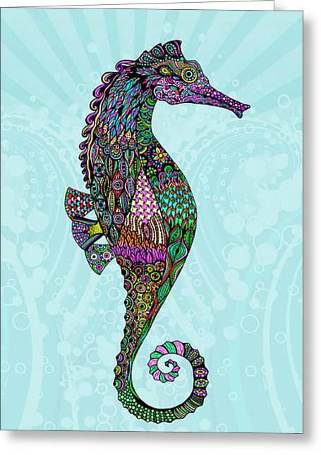 Electric Lady Seahorse  Greeting Card by Tammy Wetzel