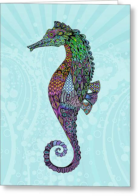 Electric Gentleman Seahorse Greeting Card by Tammy Wetzel