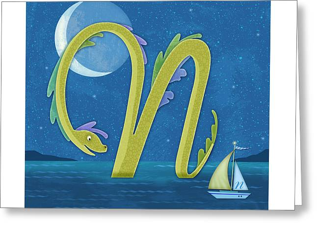 N Is For Nessie Greeting Card