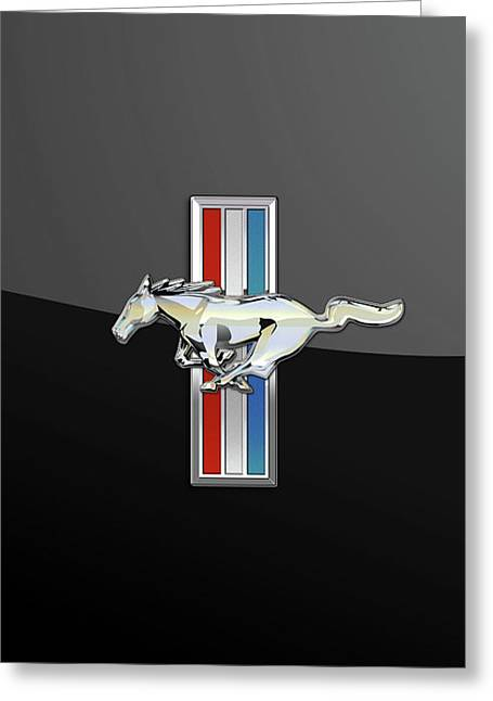 Ford Mustang - Tri Bar And Pony 3 D Badge On Black Greeting Card