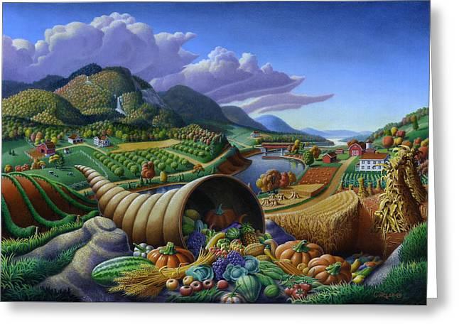 Horn Of Plenty Farm Landscape - Bountiful Harvest - Square Format Greeting Card by Walt Curlee