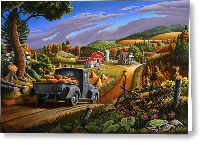 Farm Americana - Taking Pumpkins To Market Country Farm Landscape - Square Format Greeting Card