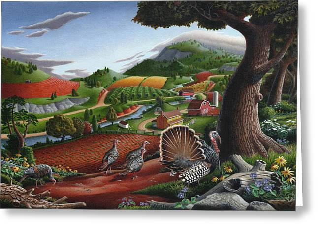 Wild Turkeys In The Hills Country Landscape - Square Format Greeting Card by Walt Curlee