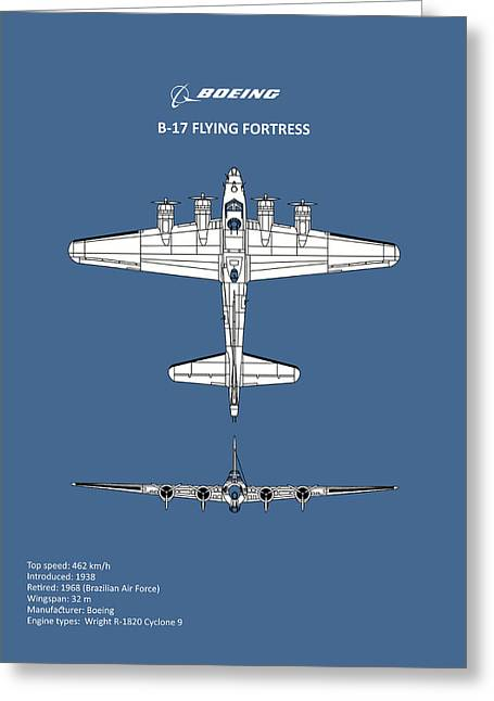 B-17 Flying Fortress Greeting Card by Mark Rogan