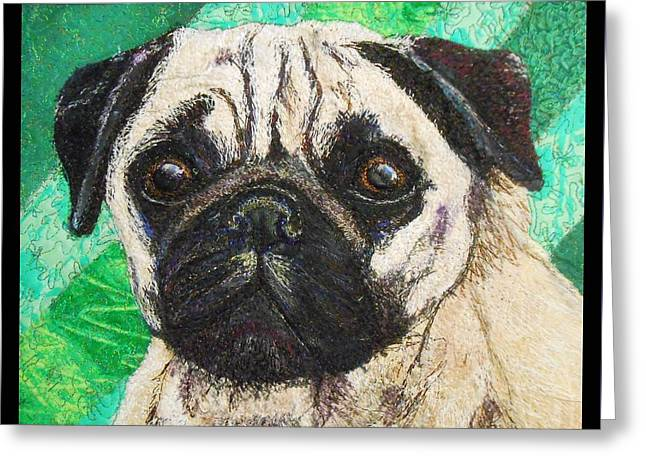 Pug Greeting Card by Dolores Fegan