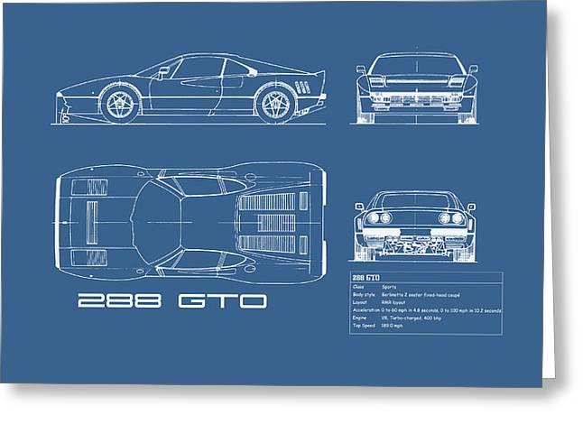 Ferrari 288 Gto Blueprint Greeting Card by Mark Rogan