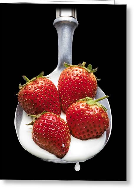 Strawberries N Cream Greeting Card by Jon Delorme