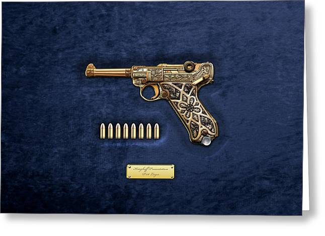 Krieghoff Presentation P.08 Luger With Ammo Over Blue Velvet  Greeting Card by Serge Averbukh