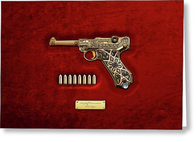 Krieghoff Presentation P.08 Luger With Ammo Over Red Velvet  Greeting Card by Serge Averbukh