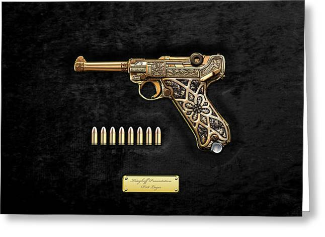 Krieghoff Presentation P.08 Luger With Ammo Over Black Velvet Greeting Card by Serge Averbukh