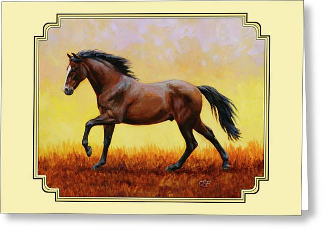 Dark Bay Running Horse Yellow Greeting Card by Crista Forest