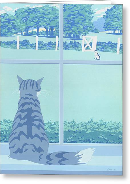 Abstract Cats Staring Stylized Retro Pop Art Nouveau 1980s Green Landscape Scene Painting Print Greeting Card