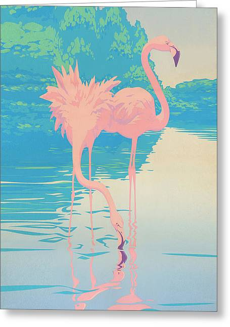 abstract Pink Flamingos retro pop art nouveau tropical bird 80s 1980s florida painting print Greeting Card