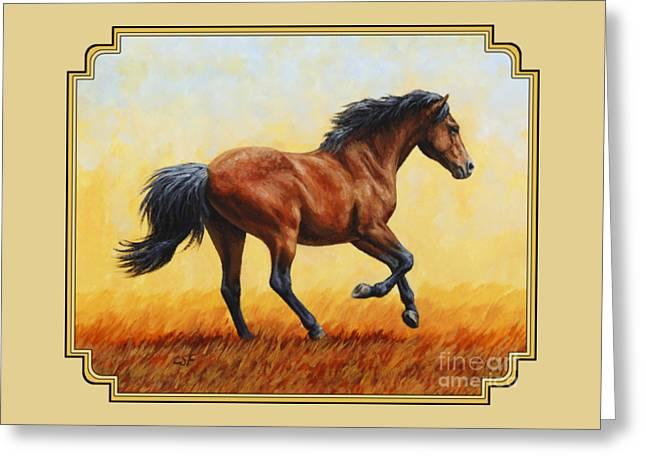 Gelding Greeting Cards - Bay Running Horse Phone Case Greeting Card by Crista Forest