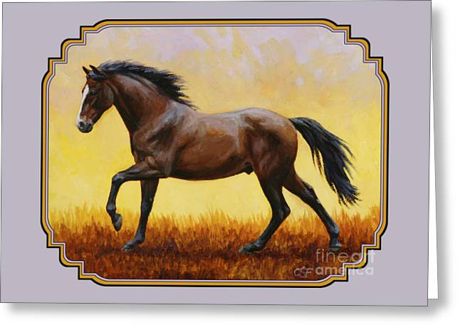 Gelding Greeting Cards - Dark Bay Running Horse Phone Case Greeting Card by Crista Forest