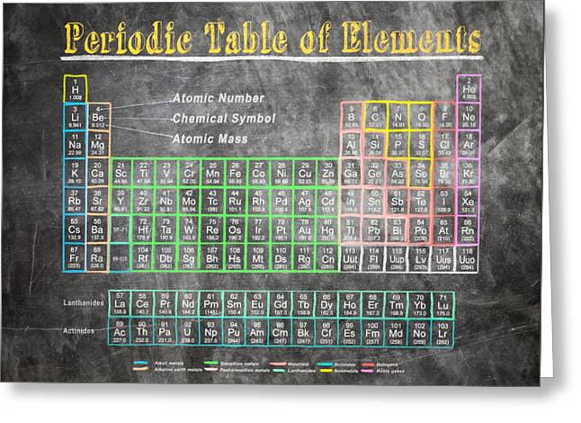 Greeting Card featuring the digital art Retro Chalkboard Periodic Table Of Elements by Mark E Tisdale