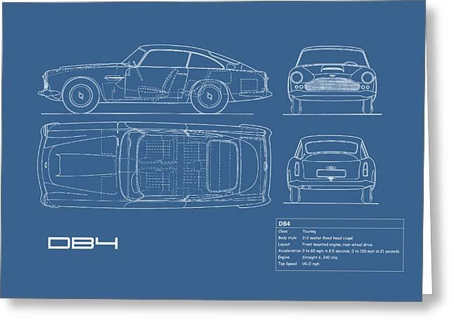 Aston Martin Db4 Blueprint Greeting Card