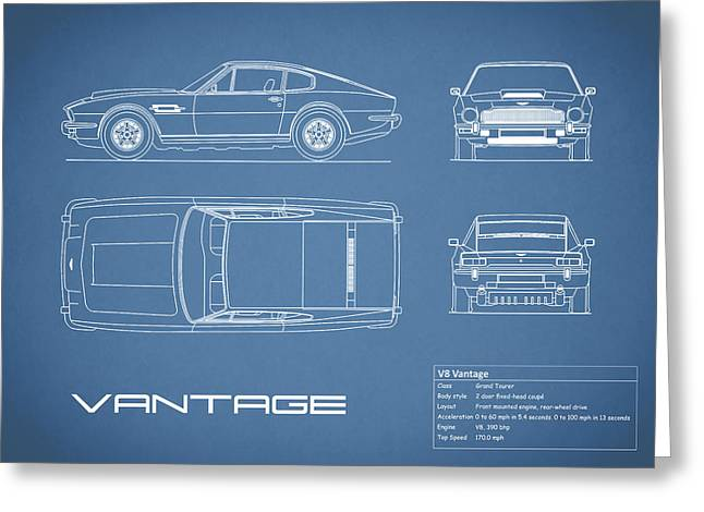 Aston Martin V8 Vantage Blueprint Greeting Card by Mark Rogan