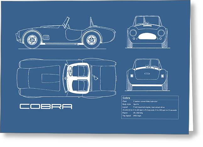 Ac Cobra Blueprint Greeting Card by Mark Rogan