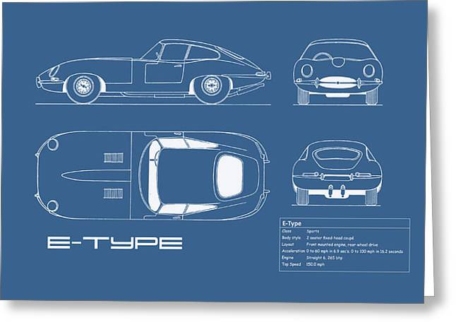 Jaguar E Type Blueprint Greeting Card by Mark Rogan