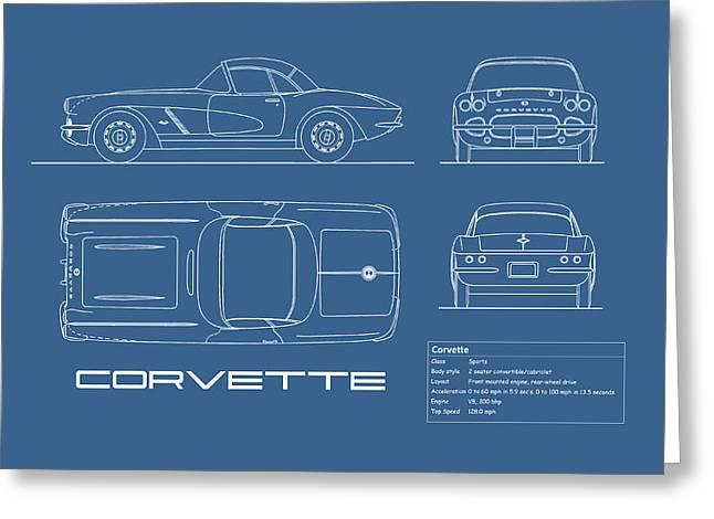 Corvette C1 Blueprint Greeting Card