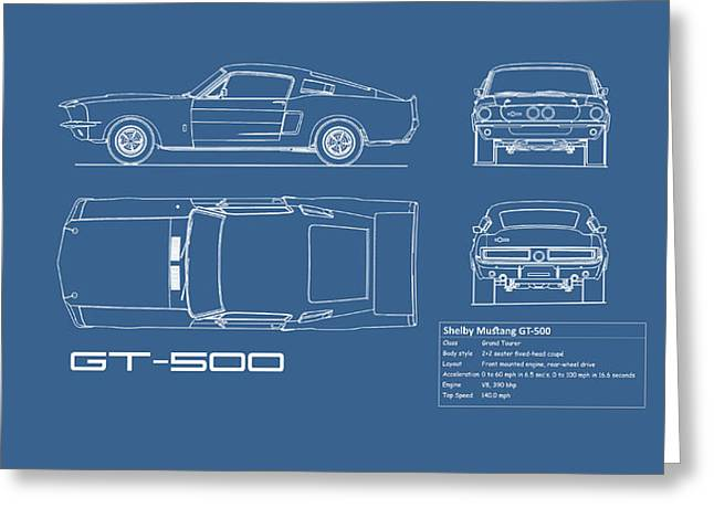 Shelby Mustang Gt500 Blueprint Greeting Card