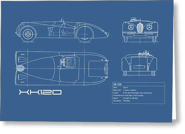 Jaguar Xk 120 Blueprint Greeting Card by Mark Rogan