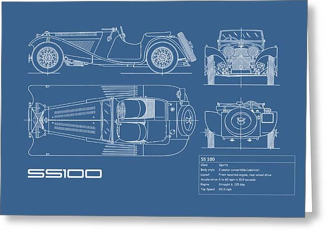 Jaguar Ss100 Blueprint Greeting Card by Mark Rogan