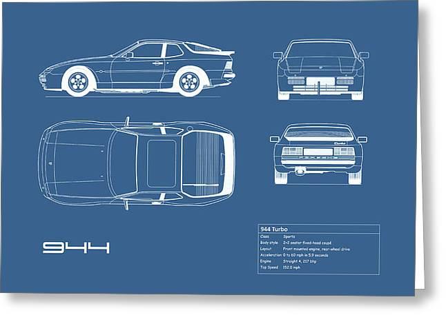 Porsche 944 Blueprint Greeting Card by Mark Rogan