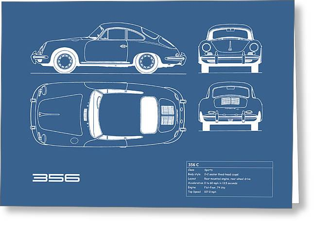 Porsche 356 C Blueprint Greeting Card