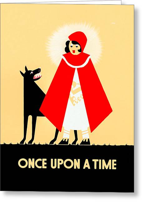 Vintage Little Red Riding Hood Poster Greeting Card by Mark E Tisdale