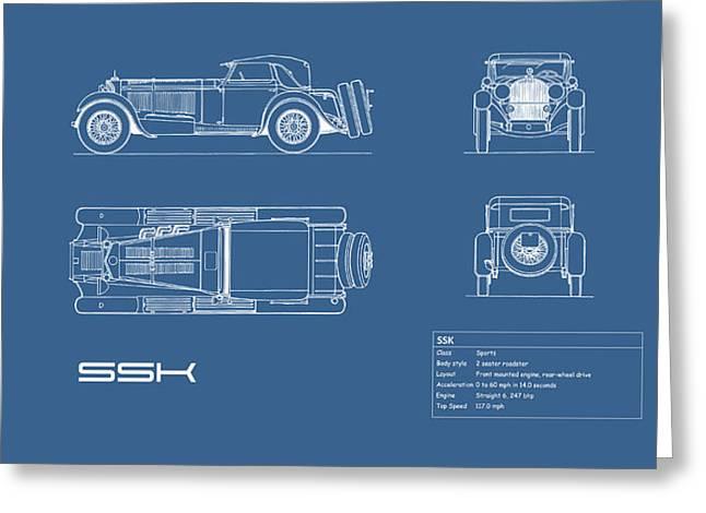 Mercedes Benz Ssk Blueprint Greeting Card by Mark Rogan