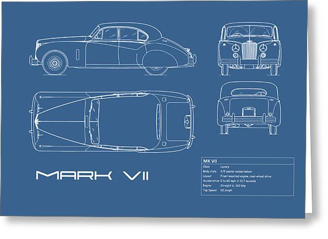 Jaguar Mk Vii Blueprint Greeting Card by Mark Rogan