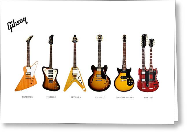 Gibson Electric Guitar Collection Greeting Card by Mark Rogan