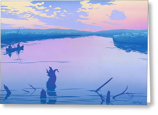 abstract people Canoeing river sunset landscape 1980s pop art nouveau retro stylized painting print Greeting Card by Walt Curlee